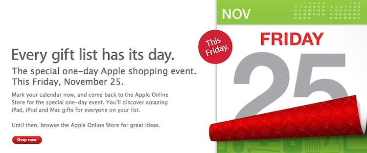 Apple Announces Worldwide November 25th Black Friday Sales