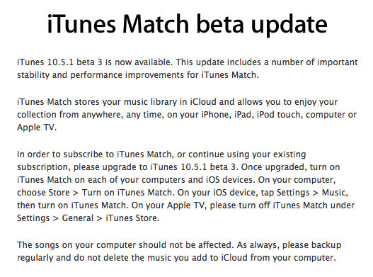 beta match iTunes Match Beta 3 Released For More Testing