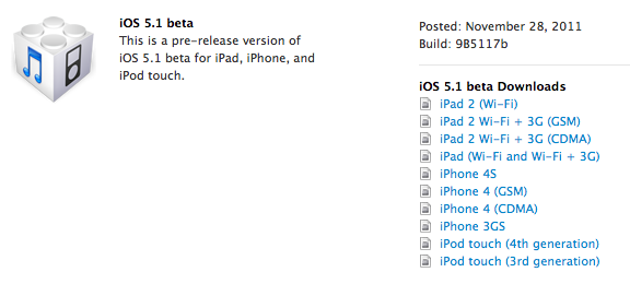 Apple Begins Seeding iOS 5.1 Beta and XCode 4.3