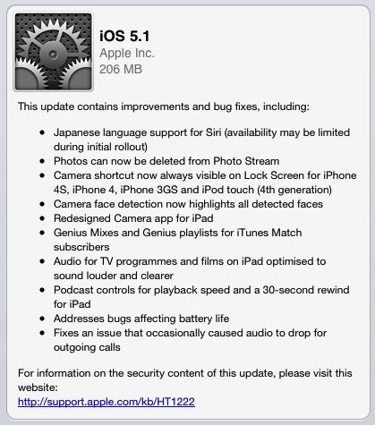 ios 5 1 iOS 5.1 Available Now   Adds Japanese Language Support for Siri, Fixes Battery Life Issues