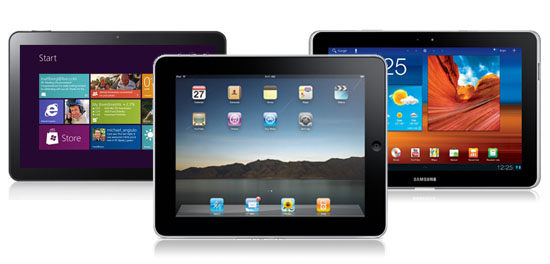 Tablet computers - Windows tablet, Apple iPad, Samsung tab