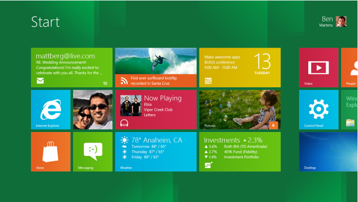 Windows 8 Desktop Home Screen