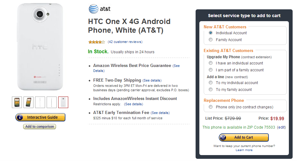 iPhone 5 alternative HTC One X Amazon Wireless