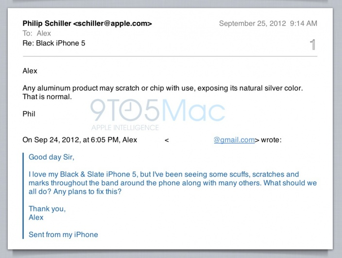 Scuffgate - Phil Schiller email about iPhone 5 prone to scratches