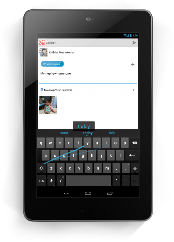 Jelly Bean Android 4.2 Gesture Typing