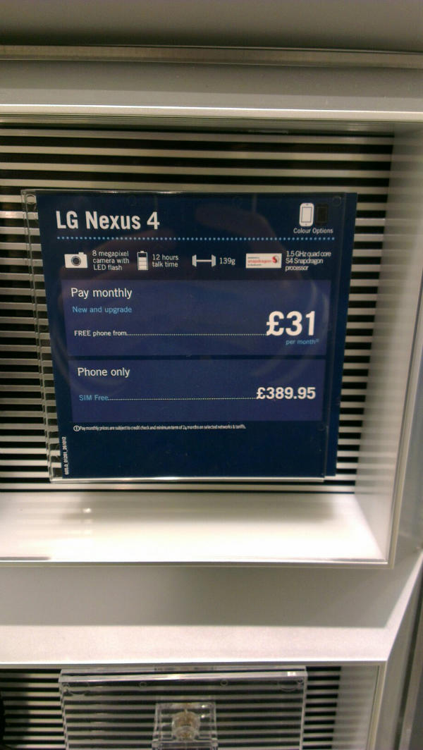LG Nexus 4 leaked ad carphone warehouse