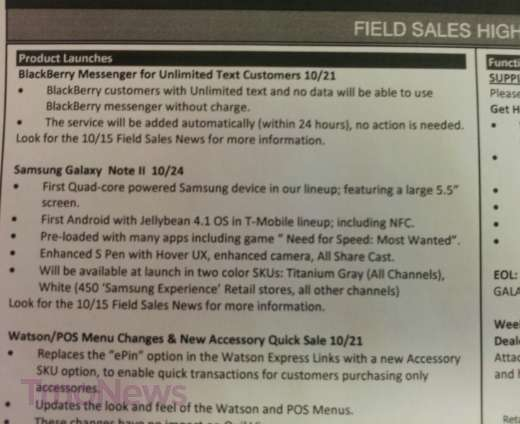Samsung Galaxy Note 2 T-Mobile Internal Memo