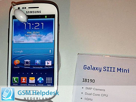 Samsung Galaxy S3 Mini Official Specs, Pictures Spotted