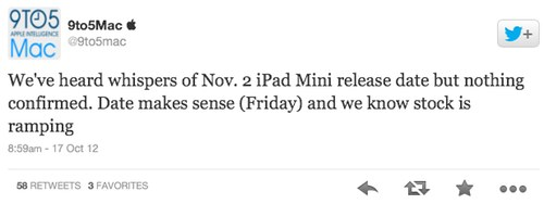 iPad mini Pre Order Date Is October 26