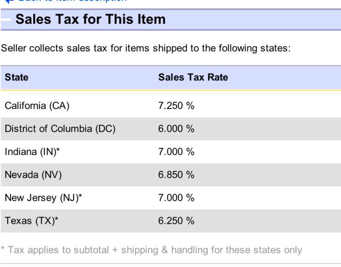 Apple eBay store Tax Table