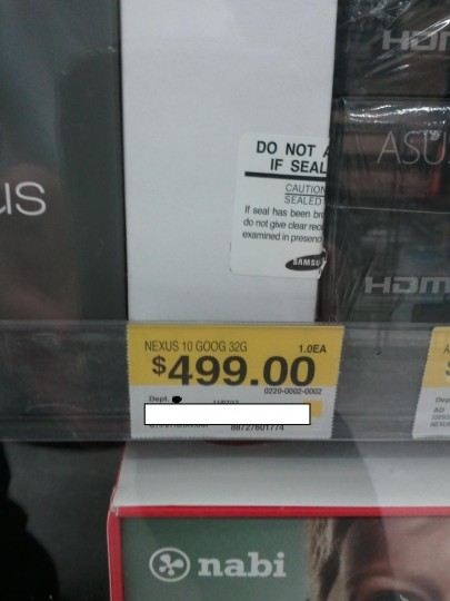 Google Nexus 10 Walmart