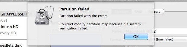 partition failed How to resolve a Partition Failed error in Mac OSX