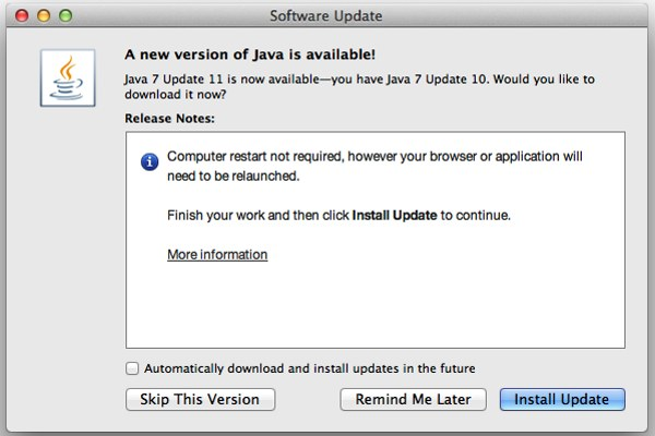Java Security: Oracle Issues Half Measure Fix, Mac Users Shrug