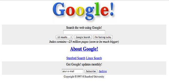 How Google, Facebook and other websites looked in the past