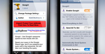 Cydia tweak Googiri merges Siri and Google Voice together May 16