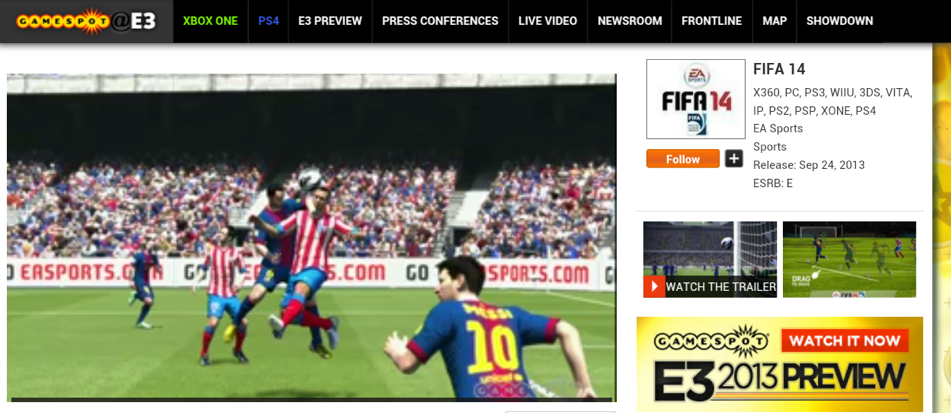 E3 2013's Demo of FIFA 14 on Xbox One
