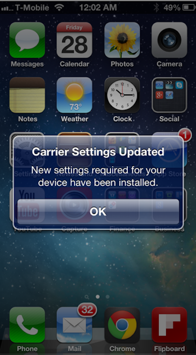 T-Mobile LTE Carrier Settings Update