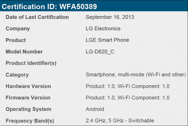 Nexus 5-C WiFi Certification