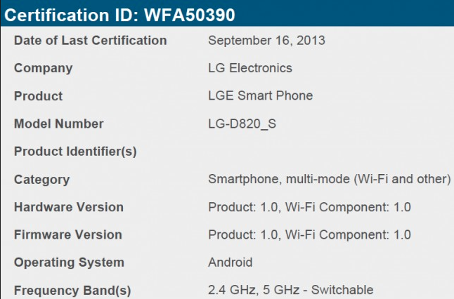 Nexus 5-S WiFi Certification