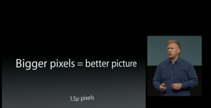 Schiller claims the company decided to increase its iPhone 5S camera pixel size, but where does this leave photographers who want more megapixels?