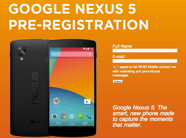 Nexus 5 WIND Mobile Pre-Registration Facebook Page