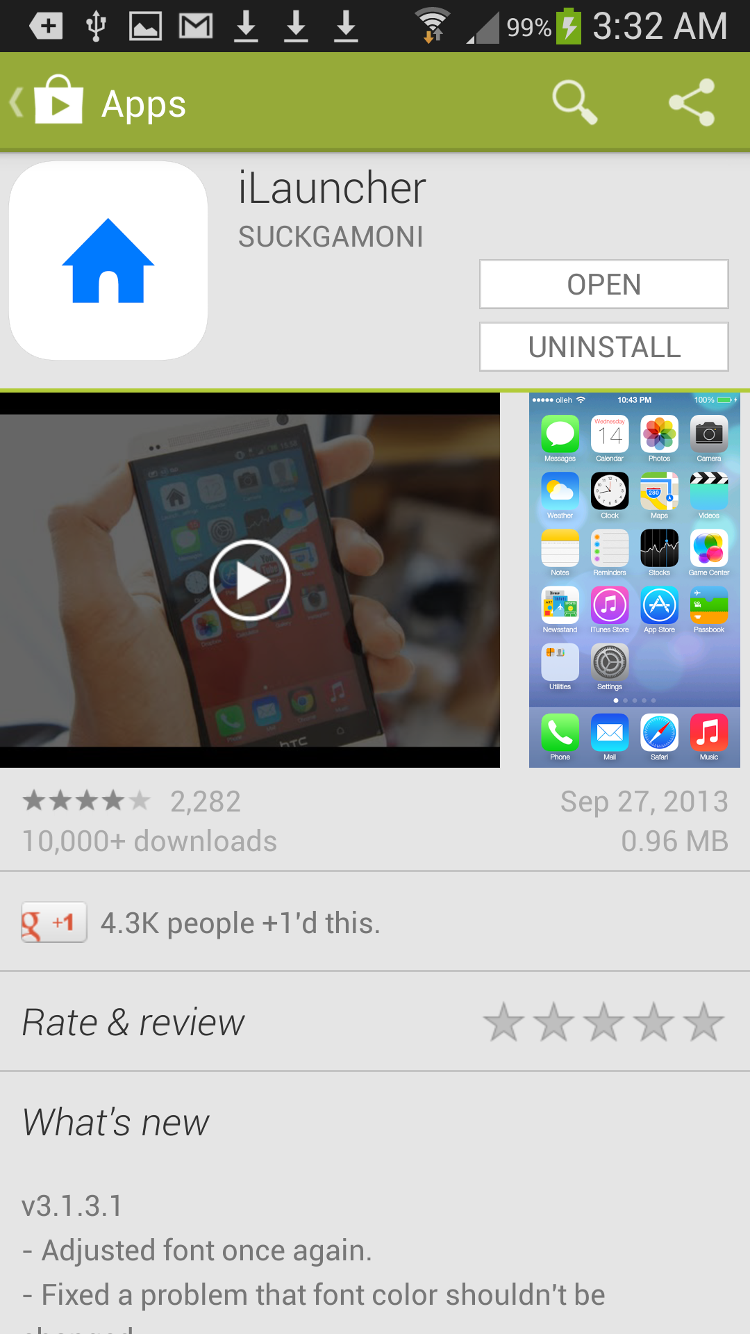iOS 7 iLauncher at the Google Play Store