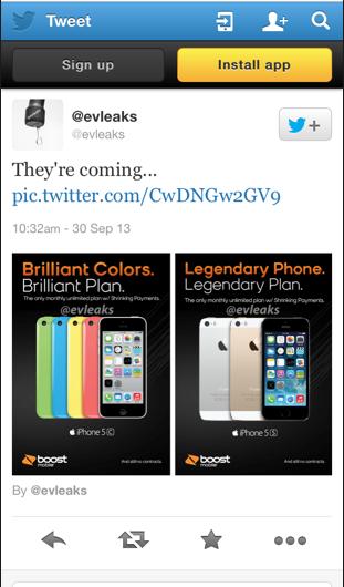iPhone 5S and iPhone 5C Evleaks Twitter Leak