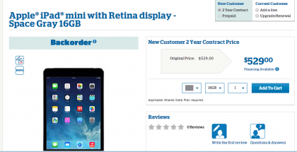 US Cellular Space Gray iPad Mini Retina 16GB
