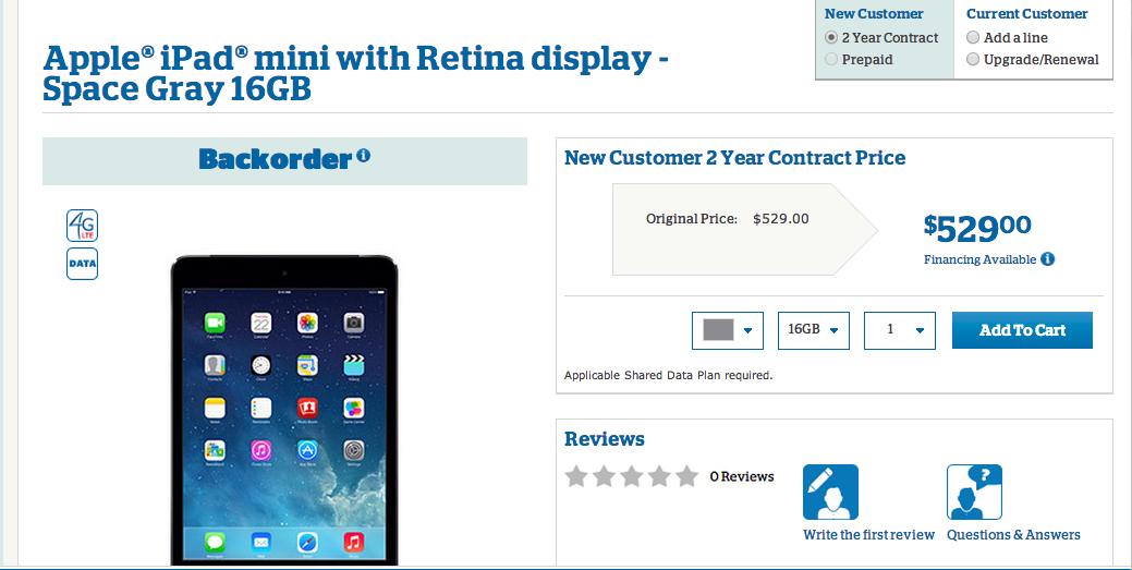 US Cellular Space Gray iPad Mini Retina 16GB
