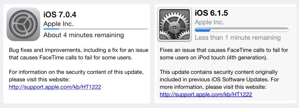 Fire up your compatible — there are restrictions — iPhone, iPod touch and/or iPad and get updating because iOS 6 and iOS 7 updates are now available!
