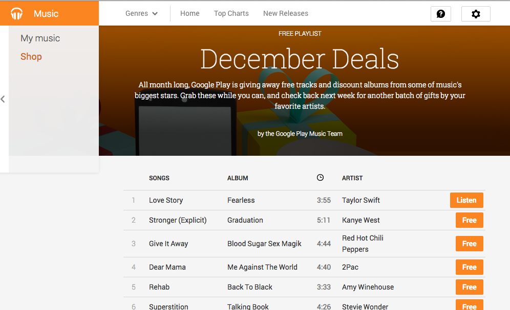 Free Google Play Music -- December Deals