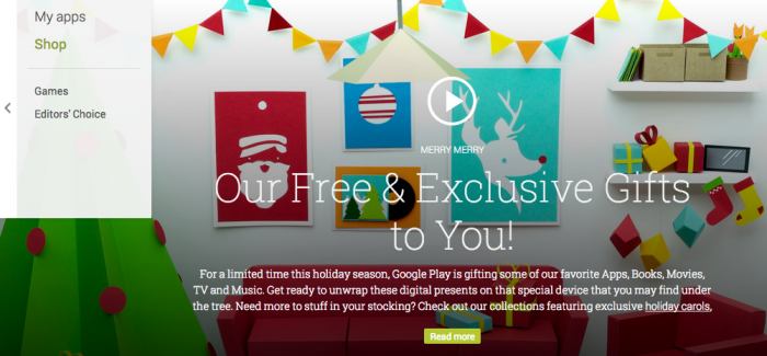 Google Play Store Offers Free Movie, Christmas and Other Songs