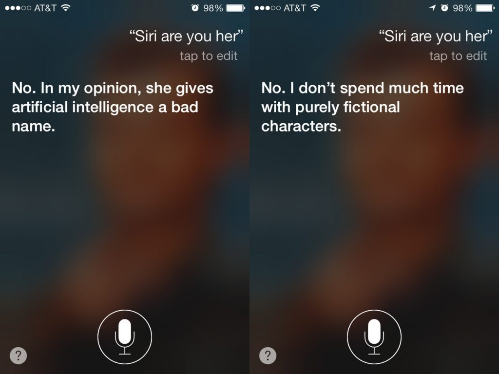 Siri Unimpressed by Scarlett Johansson in Her