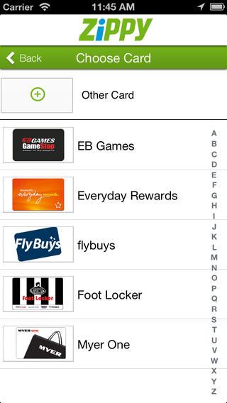Zippy australian loyalty card app