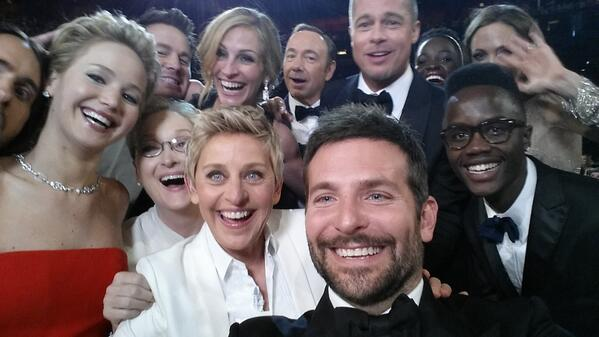 Ellen Degeneres' record-breaking Oscars Tweet from the 2014 Academy Awards Ceremony. (Credit: @TheEllenShow)