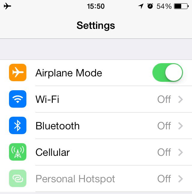 airplane mode iOS 7