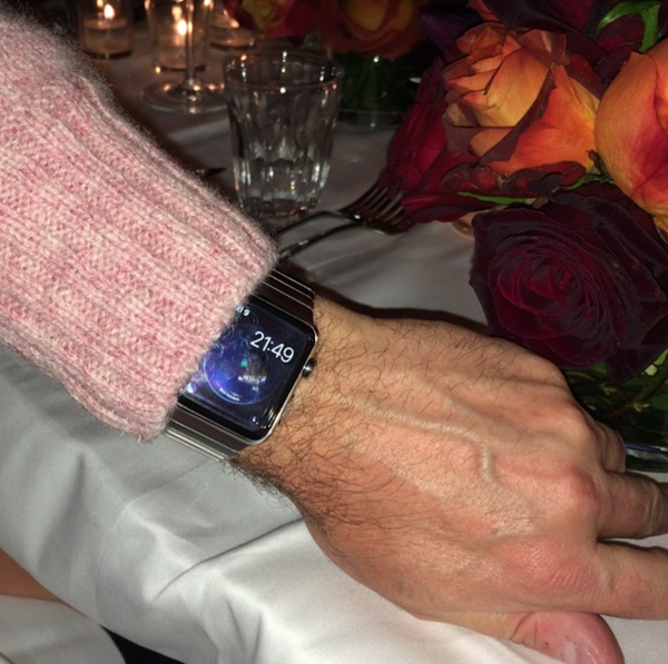 This Apple Watch pic was snapped by Suzy Menkes of Vogue magazine. It's rumored that the arm pictured belongs to Jony Ive's design buddy Mark Newson.