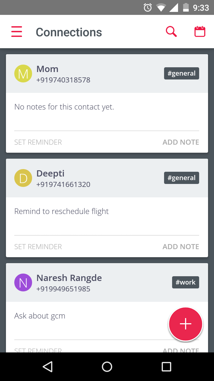 Connections - Contact list