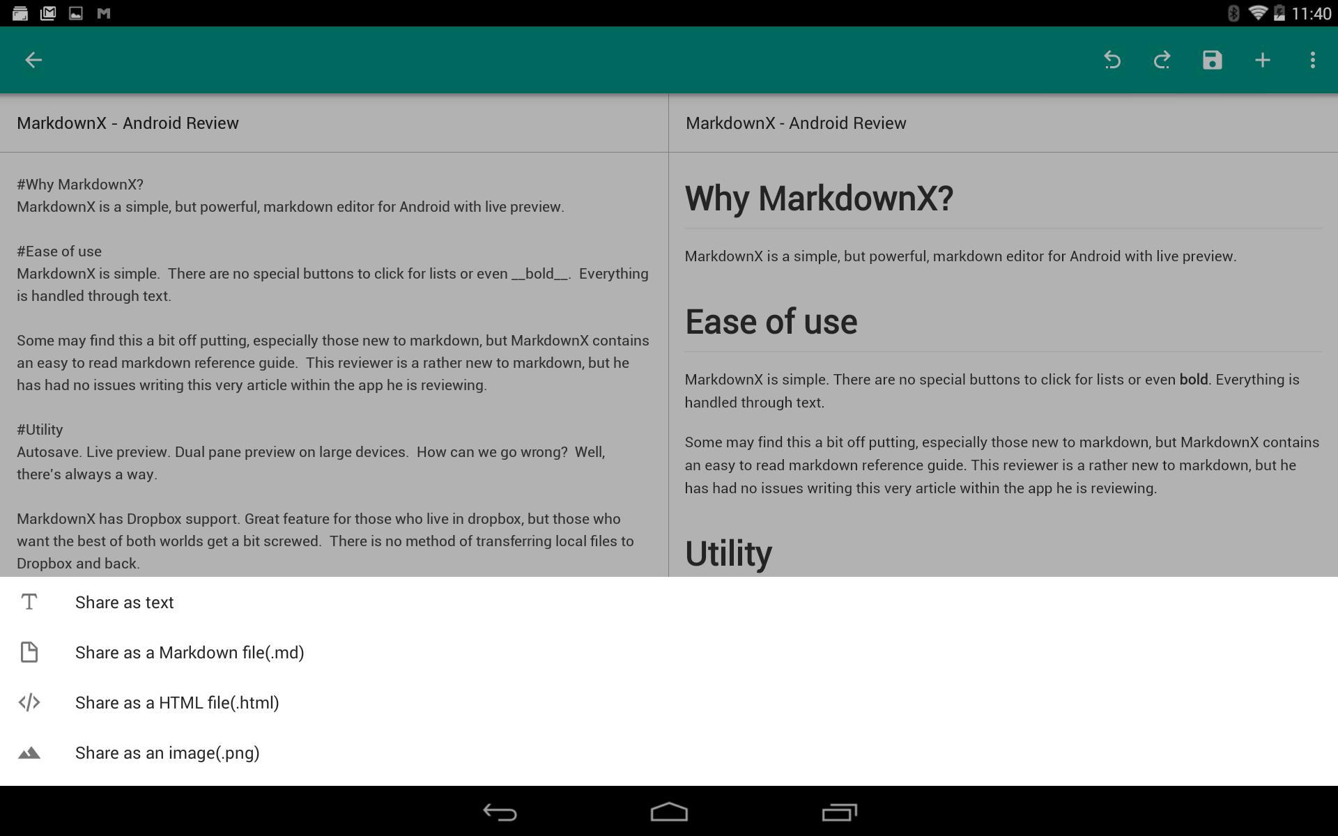 MarkdownX - Share