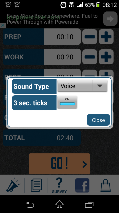 HIIT Interval Training Timer sound prompt selection screen