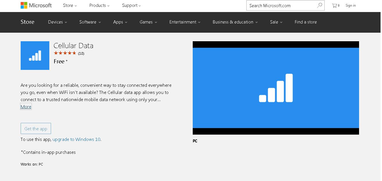 Cellular Data app by Microsoft