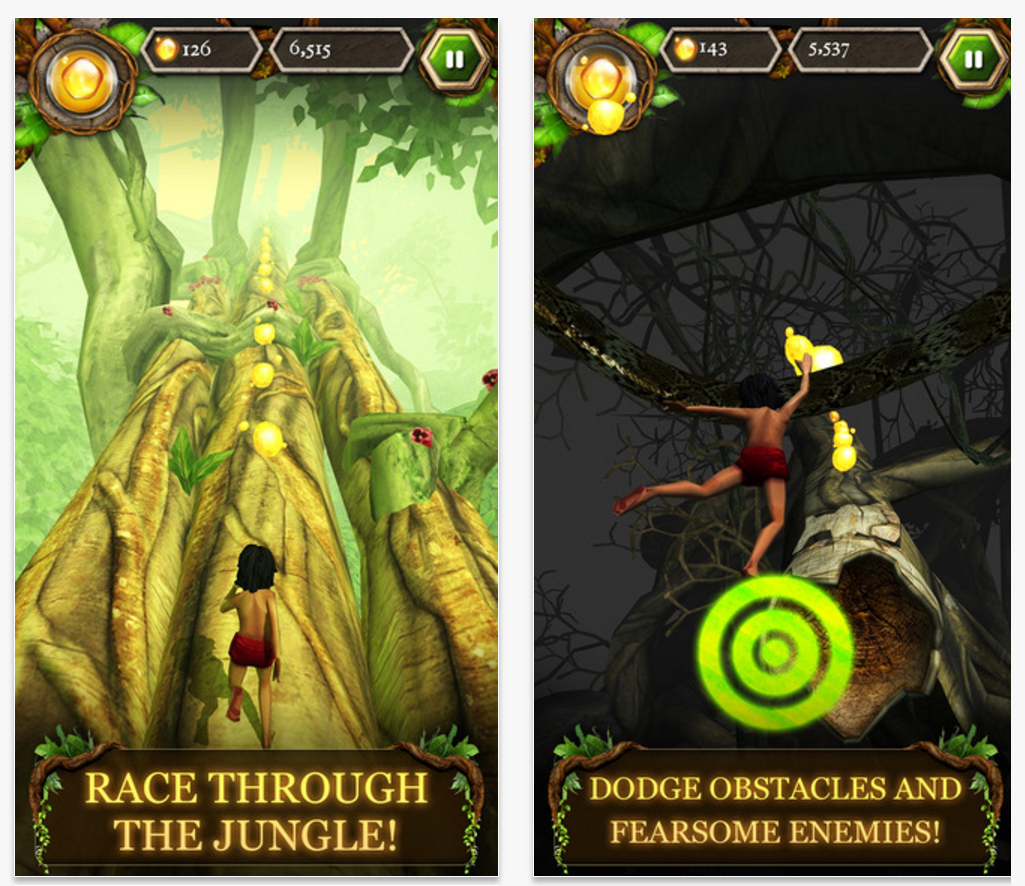 Screenshots of The Jungle Book game on an iPhone
