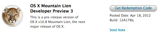 Third Build of OS X Mountain Lion Seeded to Developers