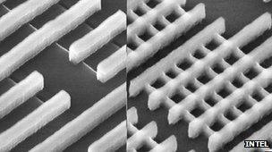 Planar chip design (L) Intel's new Tri-Gate technology (R)