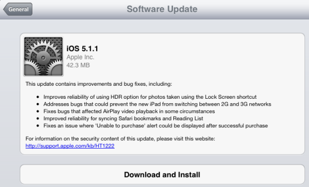 iOS 5.1.1 Released, Addreses Safari Security Vulnerabilities and iPad 3 2G/3G Network Switching