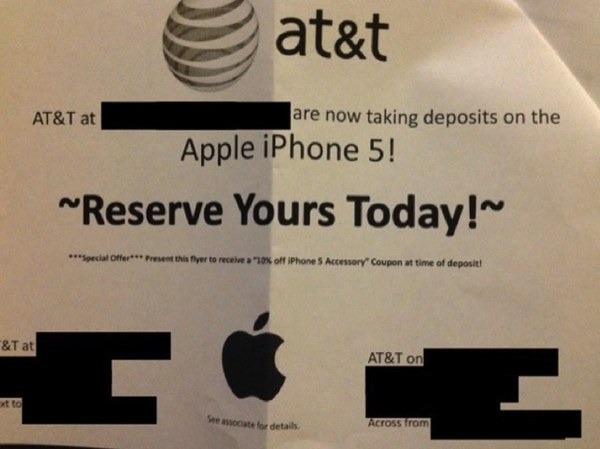 Are you ready to plunk $100 to secure your iPhone 5 pre-order? Call your local AT&T Store for details…