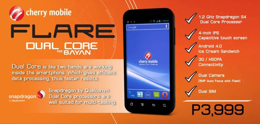 Cheaper Android options emerge -- Cherry Mobile releases $100 dual-core phone called Flare