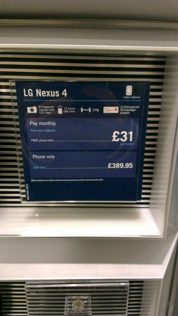 LG Nexus 4 leaked ad carphone warehouse