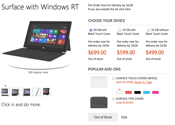 Microsoft Surface Pricing