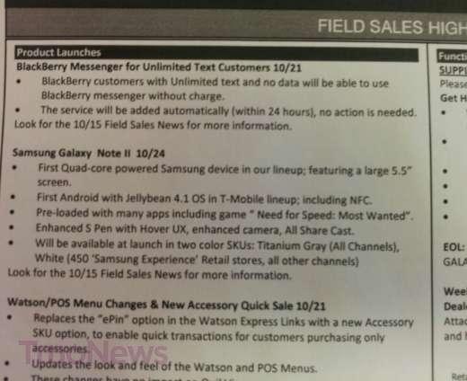 Samsung Galaxy Note 2 T-Mobile Internal Memo